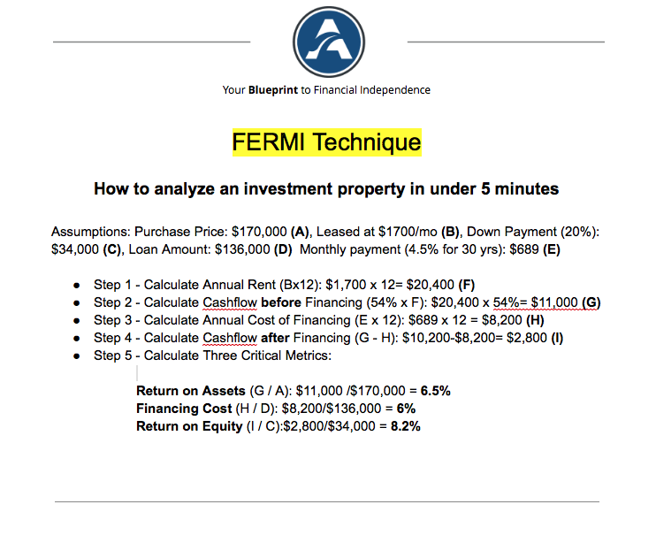 fermi technique to analyze investment properties